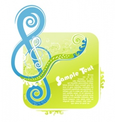 violin key floral design vector image