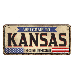 welcome to kansas vintage rusty metal sign vector image