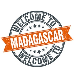 Welcome to Madagascar orange round ribbon stamp vector