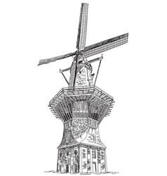 Windmill de gooyer in amsterdam vector
