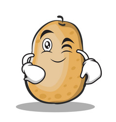Wink potato character cartoon style vector