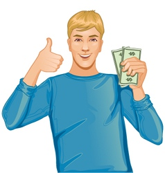 Young man with money in hand vector
