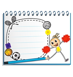 A notebook with a sketch of a young cheerleader vector image