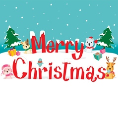 Animals And Merry Christmas Text vector image