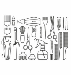 barber shop tools vector image vector image