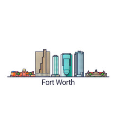 flat line fort worth banner vector image