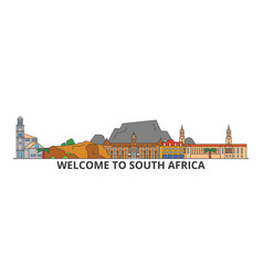 south africa outline skyline african flat thin vector image
