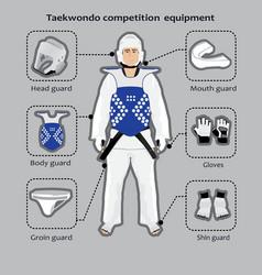 Taekwondo sport competition equipment vector image vector image