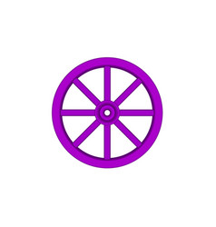 vintage wooden wheel in purple design vector image vector image