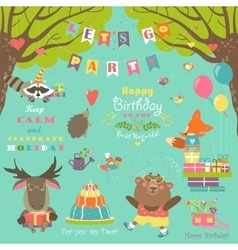 Birthday party elements with cute animals vector image vector image