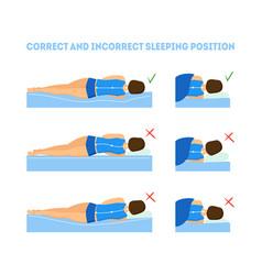 cartoon correct sleeping body posture set vector image vector image