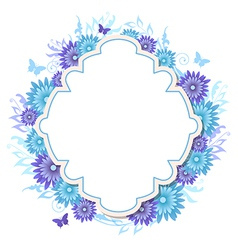 Decorative background with blue flowers vector image vector image