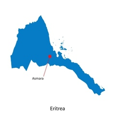 Detailed map of Eritrea and capital city Asmara vector image vector image