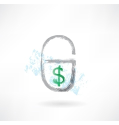 Lock money grunge icon vector image