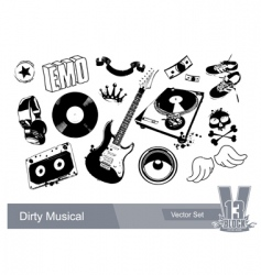 music grunge elements vector image