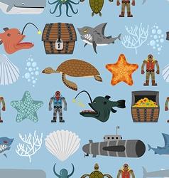 Ocean life seamless pattern Shark and aquatic vector image vector image