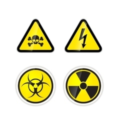 Set of four warnings signs for high voltage vector image vector image
