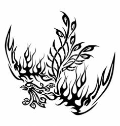tattoo with phoenix vector image vector image