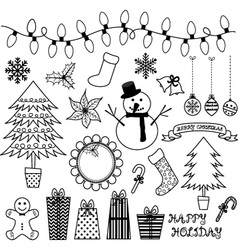 Christmas Doodles Collections vector image vector image