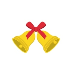 Christmas golden bells with red bow vector