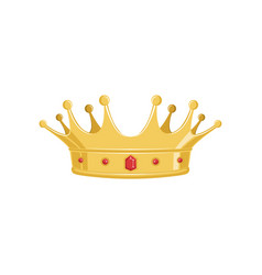 Golden ancient crown with red precious stones for vector
