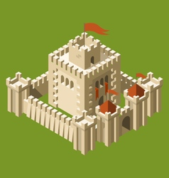 Isometric medieval castle with fortified wall vector image