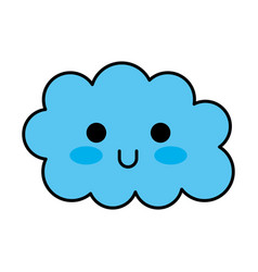 kawaii cloud funny cartoon decoration vector image