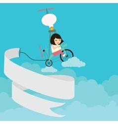 kids girls riding bicycle flying on the sky with vector image vector image