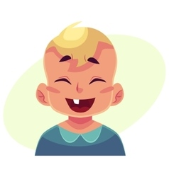 Little boy face laughing facial expression vector image vector image