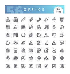 office line icons set vector image vector image