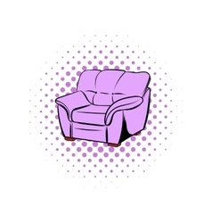 Pink armchair comics icon vector image