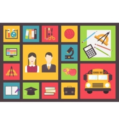 Back to school bus and equipment icons set flat vector image vector image