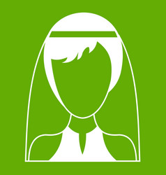 beautiful bride icon green vector image vector image