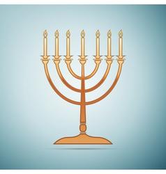 Gold Hanukkah menorah icon on blue background vector image