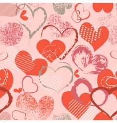 grunge hearts pattern vector image vector image