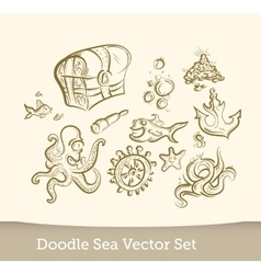 Sea doodle set isolated on white background vector image