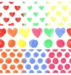 Watercolor colored heartpolka dotBaby seamless vector image vector image