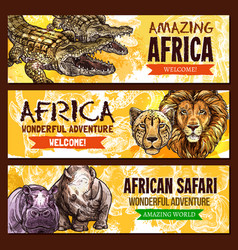 african animals poster for safari adventure vector image