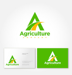 Agriculture company logo business card vector