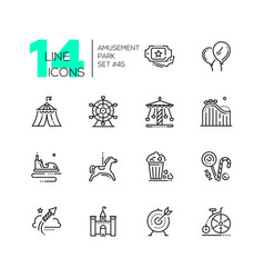 Amusement park - set of line design style icons vector