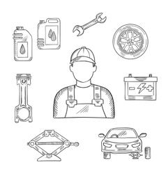 Auto mechanic profession sketch symbol vector