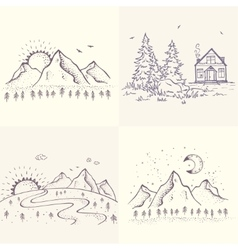beautiful nature set vector image