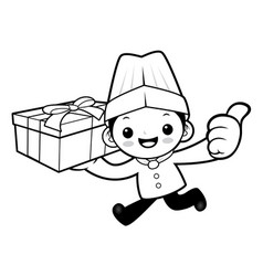 black and white funny chef mascot delivery is vector image