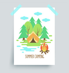 Camping fire vector