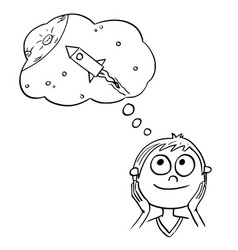 Cartoon boy dreaming about space travels vector