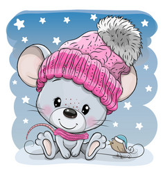 cartoon mouse in a knit cap and a bird vector image