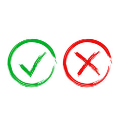 check marks tick and cross icon on white vector image