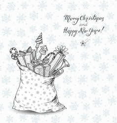 christmas card with sack full gifts gift boxes vector image