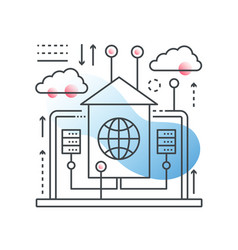Cloud data technology hosting concept in vector