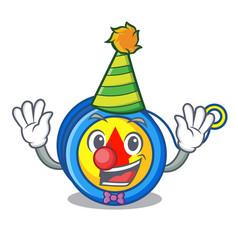 Clown yoyo mascot cartoon style vector